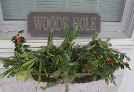 Woods Hole Drawbridge House window holiday decorations.